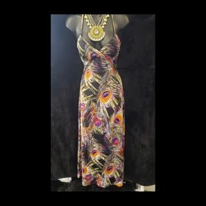 Peacock Print Maxi Dress Size M